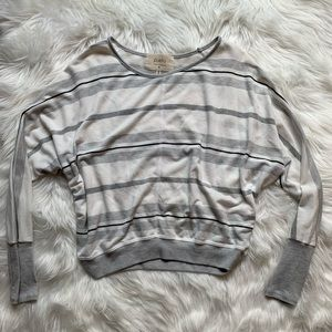 Anthropologie white sweater with grey/black stripe